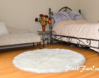Valentine Rug Oval Shape White Sheepskin Shaggy Luxury Area Rug Home Decor Accent Flokati