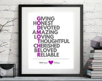 Godmother Acrostic Art, Godmother Gift, Godmother Poem, Godparent Gift, Baptism Gifts for Godmother, Godmother Print, Custom, Personalized