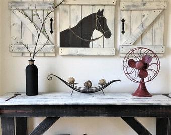 RUSTIC HORSE ART, 3 pc set, horse nursery set, Equestrian wall decor, Horse decor, Girls rustic bedroom, Horse wall art, Modern farmhouse