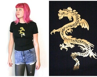 90s DRAGON T-Shirt / Asian Inspired Gold Dragon on Black Tee Soft Grunge Club Kid Cyber Goth / Size M/L Medium Large