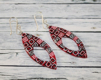 Black, red and white leaf earring