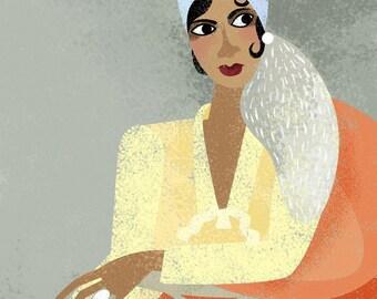 Josephine Baker / portrait / illustration / giclee print