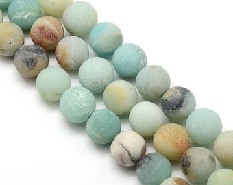 10 x 8mm Amazonite Frosted (matte) round beads