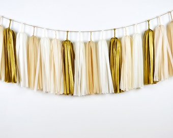 Gold Champagne Tassel Garland, Tassel Garland, Wedding Backdrop, Wedding Garland, Wedding Banner, Nursery Decor, Nursery Banner, Bunting