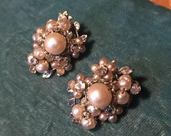 Vintage Designer Robert Rhinestone Earrings