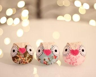 Happy Owls Special Flower Edition: Owl Decor | Handmade Owl | Mini Owl Doll | One of a Kind Owl | Decorative Owl