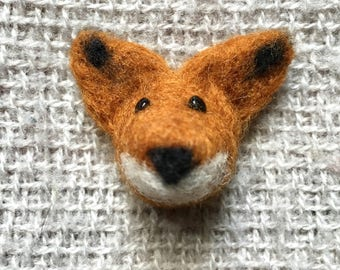 needle felted fox brooch / push pin