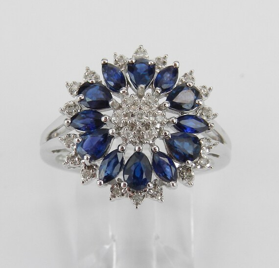 White Gold Diamond and Sapphire Cocktail Cluster Princess Ring Blue Size 7