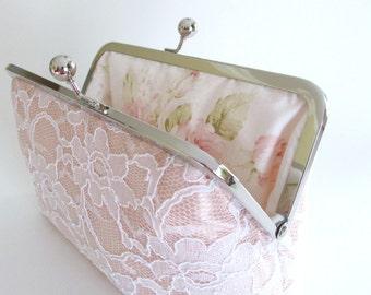 Blush Bridal Silk And Lace Clutch,Bridal Accessories,Wedding Clutch,Bridal Clutch,Bridesmaid Clutches
