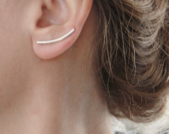 Silver Bar Ear Climbers, ear cuff, Gift for Her, Minimalist Sterling Silver Curved Round Tube Ear pins, Pick Single or Pair, Bar ear crawler