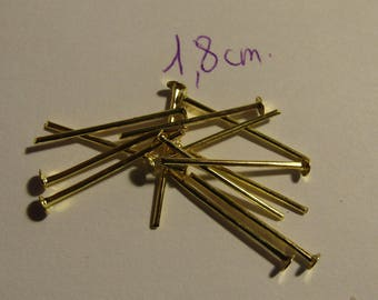 golden rods, flat head, 18mm stem, jewelery creation, set of 80 stems