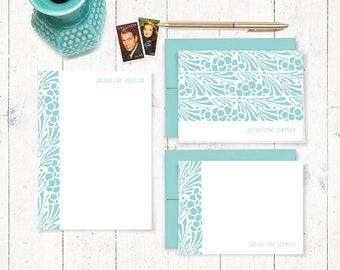 complete personalized stationery set - ART NOUVEAU FLORAL - feminine stationary set - note cards - notepad - gift set - choose color
