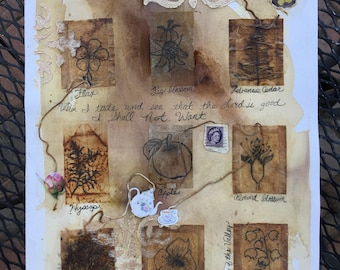 Biblical Plants & Trees/Tea Bag Art/Drawing/Coffee/Tea Dying