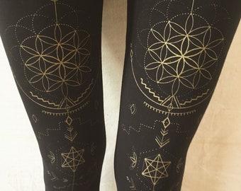 FLOWER of LIFE LEGGINGS . geometric. yoga pants. yoga leggings. festival fashion. alternative apparel. sacred geometry. psy trance. black