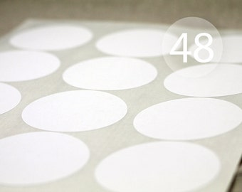 "48 2.5"" Round White Circle Stickers - 4 Full Sheets of Labels"