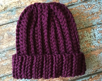 Chunky fold up brim hat in Grape (READY TO SHIP)