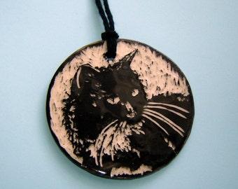 Tuxedo Cat Ornament - Black Cat - Sgraffito Pottery - Gift for Pet Lover - Black and White - Stocking Stuffer