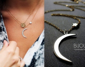 "Crescent Moon and Star Necklace - Mixed Metal Necklace - 14K Goldfilled and Silver - ""Serendipity"" Necklace..."