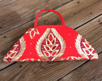 Red Clutch with Gold Embroidery