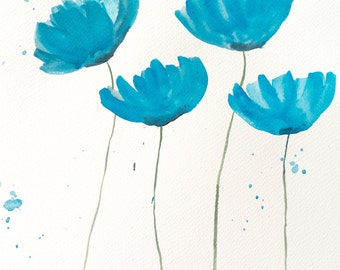Blue poppies art, poppy artwork, original watercolour painting 10 X 14 inches gift for her