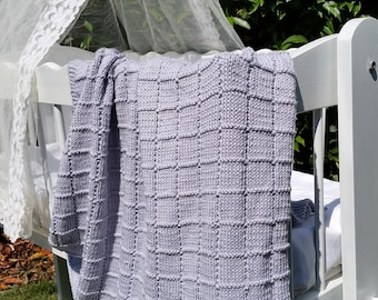 Alpaca Baby Blanket, 100% Pure Soft Natural Alpaca yarn, Hypoallergenic fibre, Hand Knitted, Windows stitch
