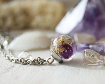Amethyst necklace, February birthstone, Terrarium necklace, Women amethyst gift, Resin moss necklace, Moss terrarium, Botanical jewelry