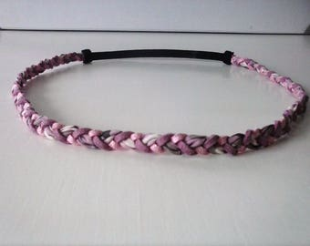Braided suede headband purple pink and pink glitter and liberty fabric