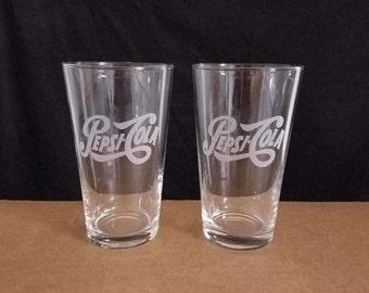 2 nice laser etched pint glasses, vintage PEPSI COLA logos