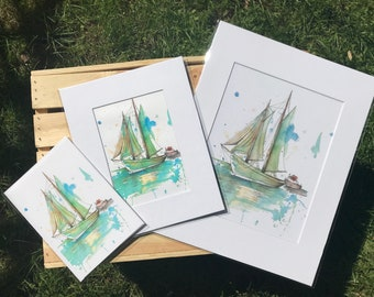 Sailboat watercolor