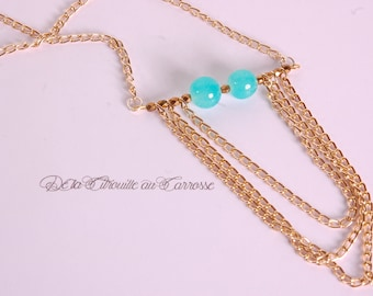 Turquoise beads and bronze faceted beads necklace