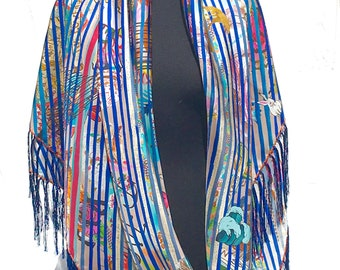 Blue striped tattoo french sailor silk twill shawl scarf
