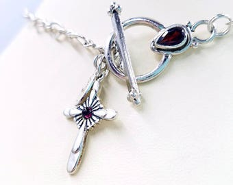 Sterling and Red Garnet Cross with Matching Silver Garnet Toggle Clasp, Infinity Chain Cross Necklace with Front Toggle Clasp Close