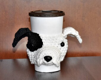 Pit Bull Cup Cozy,Dog Cup Cozy,  Cup Cozy, Cup Sleeve, Coffee Cozy, Dog Lover Gift, Beverage Cozy, Drink Cozy, Animal Cup Cozy, Crochet