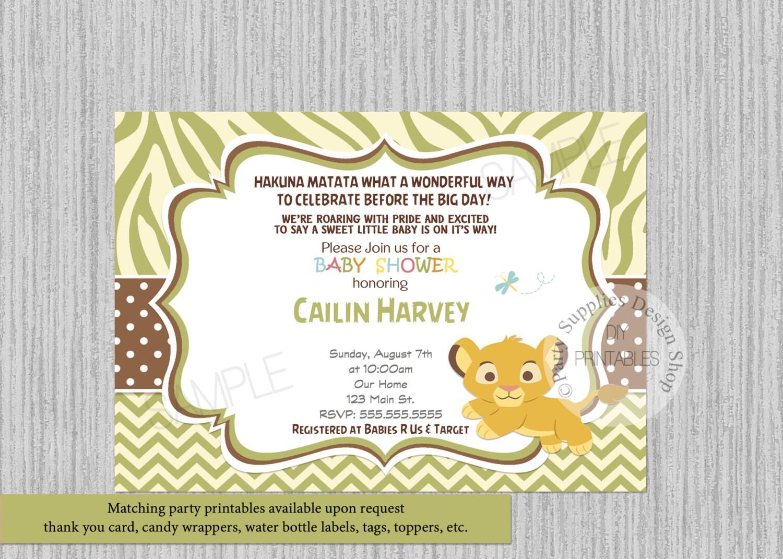 Simba baby shower invitations simba lion king baby shower zoom filmwisefo