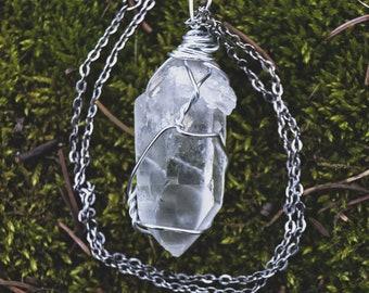 Rough Clear Quartz Point Handmade Wire Wrap Pendant Necklace