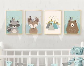 Woodland nursery, Nursery set of 4 print, Nursery wall art, Nursery set, Nursery Print, 4 giclee nursery, Forest friends, Nursery Giclee set