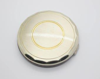 Vintage 1980s Round Vintage Silver Tone Mirror Powder Compact