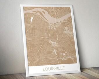 Louisville Map Art Print