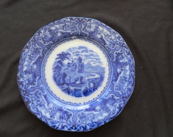 Flow Blue WATTEAU Plate 12 Sided Castle Scene  Late 1800's Staffordshire England
