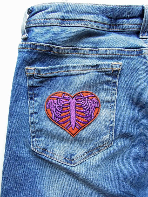 Skeleton heart iron on patch - X-Ray iron on sew on patch - Babydoll Goth skeleton rib cage heart patch - Ribcage heart embroidered patch