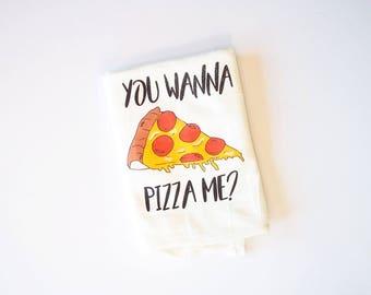 Pizza tea towel - dishtowel kitchen white cotton you wanna pizza me pun funny pizza dish towel gift mothers day