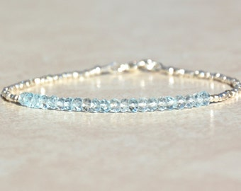 Aquamarine Bracelet, March Birthstone Bracelet, Gemstone Bracelet, Aquamarine Beaded Bracelet, Bridesmaids Gift for Her, Hill Tribe Silver
