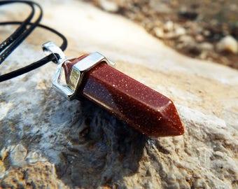 Sandstone Pendulum Pendant Silver Handmade Gemstone Necklace Jewelry