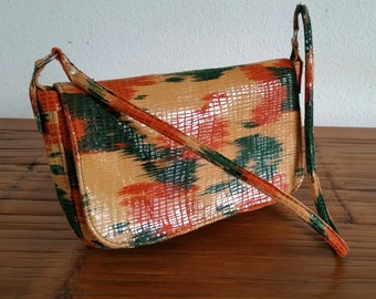 """Leather purse-multi colored. Hand made with """"Aloha"""" in Hawaii."""