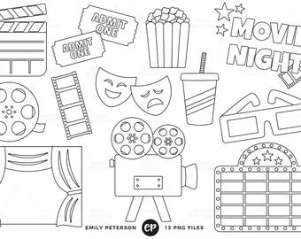 50% OFF SALE! Movie Night Digital Stamps, Film Line Art, Cinema Clip Art - Commercial Use, Instant Download