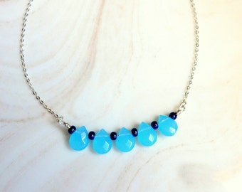 Sea Blue Briolette Necklace,Crystal Briolette Jewelry,Aqua Blue Necklace