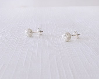 Sterling Silver Post Stud Earrings - The Basics: 6mm Stardust Round Ball