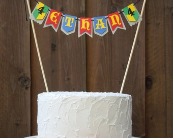 Mini Cake Banner Bunting Centerpiece for Medieval Knight Birthday Party, Personalized