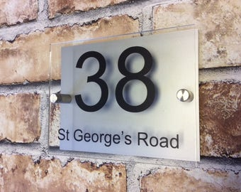 MODERN HOUSE SIGN Plaque Door Number House Name Glass & Aluminium effect