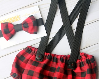 Lumberjack Diaper Cover, Buffalo Plaid First Birthday Outfit, Wild One Cake Smash
